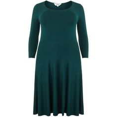 Studio 8 Camille knit dress ($64) ❤ liked on Polyvore featuring dresses, clearance, dark green, fit & flare dress, 3/4 length sleeve dresses, blue dress, blue v neck dress and v neck dress
