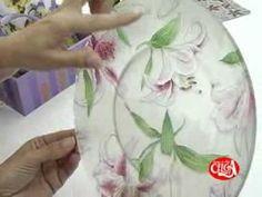DECOUPAGE EM PRATO - 1 - Nane Mendes - Como decorar um prato com DECOUPAGE EM PRATO - YouTube