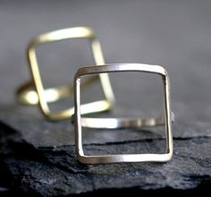 modern square ring gold silver square ring modern by museglass Sterling Silver Jewelry, Silver Rings, 10k Gold Ring, Square Rings, Argent Sterling, Yellow Gold Rings, Jewelry Rings, Jewellery, Etsy