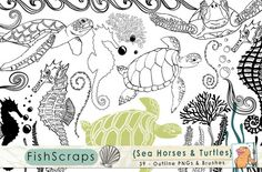 Check out Sea Horses & Turtles - Under the Sea by FishScraps on Creative Market