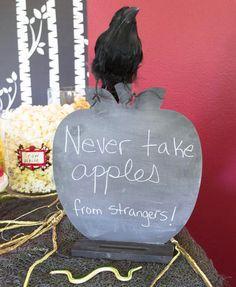 Disney's Descendants Watch Party; 'never take apples from strangers' chalkboard