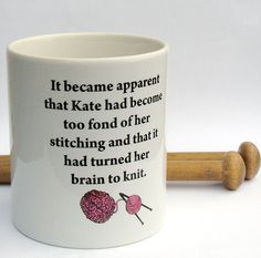 Personalized Knitter's Mug  Knit for brains by KellyConnorDesigns, $19.75