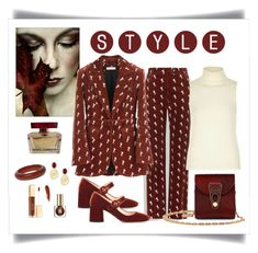 """""""Chloe Crimson Brown Embroidered Riding Jacket & Pant Look"""" by romaboots-1 ❤ liked on Polyvore featuring River Island, Prada, La Perla, Ben-Amun, Marco Bicego, Dolce&Gabbana and Estée Lauder"""