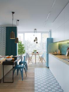 Scandinavian on Behance Kitchen Room Design, Interior Design Kitchen, Kitchen Dining, Polished Concrete, Industrial Chic, Colour Schemes, Open Shelving, Architecture, Interior Inspiration