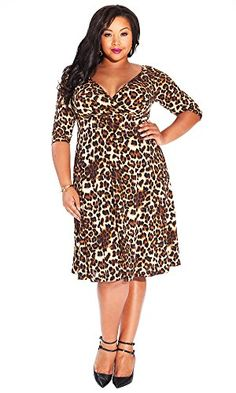 11e697fc5d IGIGI Women s Plus Size Francesca Dress in Mocha Leopard 30 32 IGIGI http