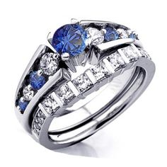 1.75 Carat (ctw) 10k White Gold Princess & Round White Diamond And Blue Sapphire…