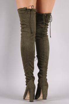 These over-the-knee boot s features a soft vegan suede, thick wrapped heel, round toe, and a drawstring collar that ties at the back for custom fit. Finished with a partial side zipper closure and cus
