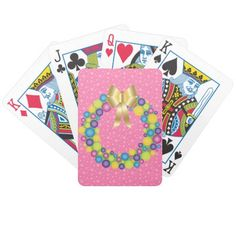 Pretty #Christmas Wreath in Pink Playing Cards