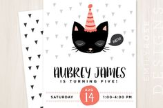 Kitty Cat Birthday Party Invitation Printable by EmileeRoseDesigns