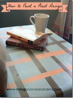How to paint a plaid design. Garage sale find turned side table.