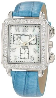 Breda Womens 5172-Blue Sarah Rectangular Rhinestone Encrusted Leather Watch