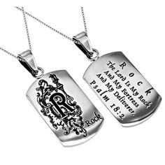 "Women's Monogram ""R"" ROCK Encouragement Jewelry, Christian Dog Tag, Stainless Steel Chain"