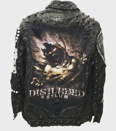 Asylum distressed denim, studded rocker jackets from ChadCherryClothing.