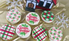 Delicious Holiday Transfers - Chocolate Covered Sandwich Cookies - http://americanchocolatedesigns.com/transfer_sheets.php#cookies