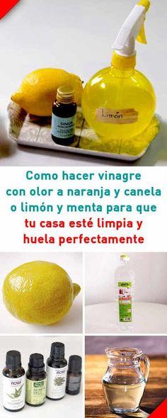 Como hacer vinagre con olor a naranja y canela o limón y menta para que tu casa esté limpia y huela perfectamente