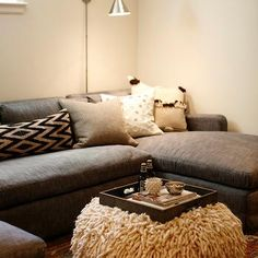 Contemporary Family Room in Basement, Contemporary, Basement
