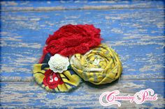 Hair Accessories Red Mustard Yellow Navy by CrowningPetals on Etsy, $15.50