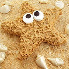 Peanut Butter Fudge Starfish   Here is a fun project for a beach party or summer birthday that uses a child's sand toy as the fudge mold.