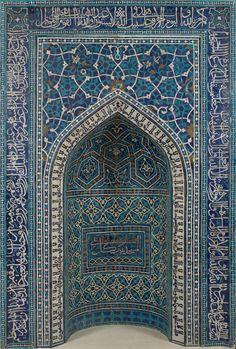 Prayer Niche from Iran's Safavid Period.Mihrab, Prayer Niche, A. Iran, Isfahan Medium: Mosaic of polychrome-glazed cut tiles on stonepaste body; set into mortar 135 x 113 Metropolitan Museum.