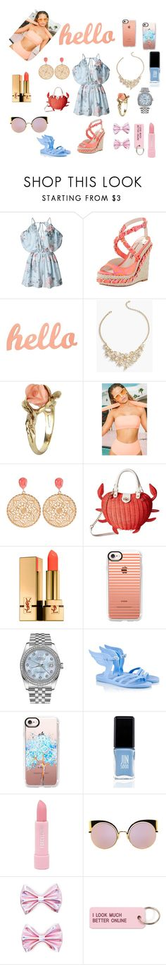 """Hello"" by mintmila ❤ liked on Polyvore featuring Sophia Webster, Talbots, Vintage, Betsey Johnson, Yves Saint Laurent, Casetify, Rolex, Ancient Greek Sandals, JINsoon and Forever 21"