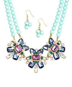 Another great find on #zulily! Mint Beaded Bib Necklace & Earrings by KC Signatures #zulilyfinds