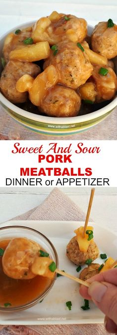 Quick Dinner or Appetizer ! Sweet and Sour Pork Meatballs are always a winner ! #Meatballs #Appetizer #appetizerrecipe