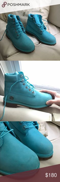 Turquoise Blue Suede Timberlands Soooo cute. Torn between keeping and selling. Very good condition, minimal wear (barely noticeable scuffs on front and minor creasing on side). Men's 5.5. I wear 8.5 usually and they fit me snug Timberland Shoes Combat & Moto Boots