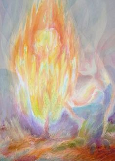 burning bush watercolor  Good idea for the 3rd grade main lesson.