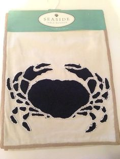 "Nantucket Nautical Crab Beaded Beige Fabric Table Runner 13x72"" 100% Cotton NEW #seaside"
