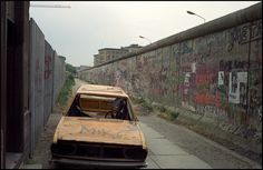 VW Passat  Zimmerstrasse, Berlin 1989. This carwreck stood there for at least two or three years...