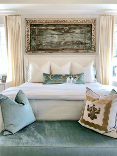 The luxurious master bedroom was designed in soft turquoise and white with plush white bedding by Teena Caldwell of Twenty-Two Fifty Interiors. Rustic Bedroom Design, Master Bedroom Design, Dream Bedroom, Bedroom Decor, Bedroom Ideas, Bedroom Designs, Barn Bedrooms, Coastal Bedrooms, Luxurious Bedrooms