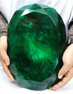 Largest Emerald mm the world, weighing 11 kilos and found in Brazil.