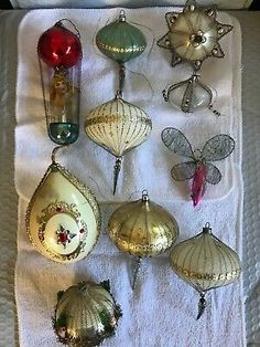 ** AMAZING** ANTIQUE WIRE WRAPPED CHRISTMAS ORNAMENTS / LOT OF 10  | eBay