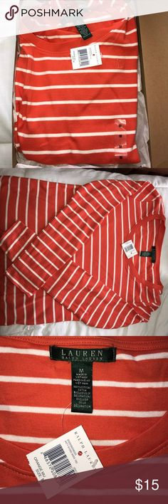100% Cotton scoop neck Ralph Lauren Top Size medium! New with tags! Orange and white striped shirt that is a 100% cotton from Lauren by Ralph Lauren. In perfect condition Lauren Ralph Lauren Tops
