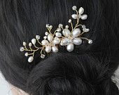 Etsy: Freshwater Pearl White Pearl Floral Bridal  Comb,  Wedding accessories Flower  White  Fascinator Headpiece Bride hair piece