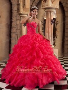 Sexy Coral Red Quinceanera Dress Sweetheart Ruffles Organza Ball Gown  http://www.fashionos.com  ruffled quinceanera dress |