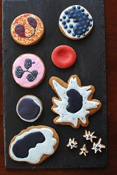 more nerdy sweets! blood cells galore! i want the eosinophil... tasty red sprinkles.