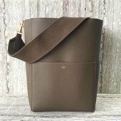 Celine Sangle Bucket Bag in Soft Grained Calfskin Grey 2018 ] : Real Purse Celine Handbags, Celine Bag, Burberry Handbags, Purses For Sale, Purses And Bags, Bucket Bag, Leather Bag Design, Hermes, Prada
