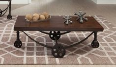 Coaster Furniture Coffee Table - Antique Bronze - Add a chic-contemporary touch to your décor with the Coaster Furniture Coffee Table - Antique Bronze . The antique bronze finish underscores. Rustic Coffee Tables, Cool Coffee Tables, Rustic Furniture, Home Furniture, Coffee Table With Wheels, Coaster Furniture, Brown Wood, Furniture Collection, Wood And Metal
