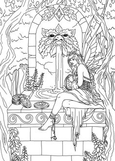 Selina Fenech coloring Fairy Wishing Well * Fairy Myth Mythical Mystical Legend Elf Fairy Fae Wings Fantasy Elves Faries Sprite Nymph Pixie Faeries Hadas Enchantment Forest Whimsical Whimsy Mischievous Coloring pages colouring adult detailed advanced printable Kleuren voor volwassenen coloriage pour adulte anti-stress kleurplaat voor volwassenen Line Art Black and White