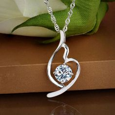 Love Crystal Diamond Silver Necklace ,cheap Fashion Necklaces - Jewelry&Accessories online shopping,Love Crystal Diamond Silver Necklace show romantic love which is a perfect gift for her!