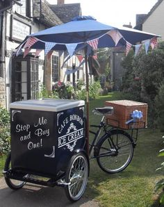 cafe bon bon ice cream bike, 10 flavours, sauces + sprinkles, £300 English Summer, British Summer, Ice Cream Van, Cream Tea, Bon Bon Ice Cream, Vendor Cart, Wimbledon Village, Bike Food, Village Fete