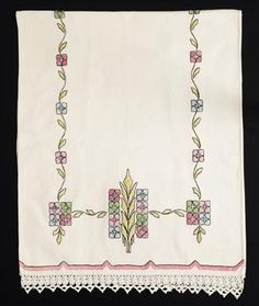 "297. Arts & Crafts runner, H. E. Verran Co., Inc., Royal Society, unknown number, ca. 1913-1918, pink, green, blue, gold and black floss on an off white ""needleweave"" fabric, satin and outline stitches, conventional floral motif, Prairie School influence, 22"" x 51"", excellent condition 350-500"
