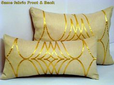 Gold lumbar pillow case  Cream satin 12x16  pillow by SABDECO, €18.00