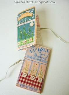 Old packages printed onto fabric to make needlecases