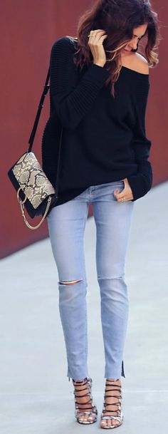 Erica Hoida + pair of gorgeous metallic stilettos + distressed skinny jeans + smart casual style + perfect for more dressed up everyday wear.  Sweater: Belstaff, Jeans: Joe's Jeans, Shoes: Aquazzura, Bag: Chloe.