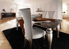 Luxury Silver and black glass dining table with 6 Chairs