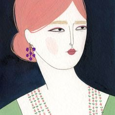 Cheapside Hoard by Yelena Bryksenkova. This wonderful USA based illustrator was commissioned to imagine gems from the new Museum of London exhibition on a modern day lady. I love this simple but oh so elegant fashion illustration.
