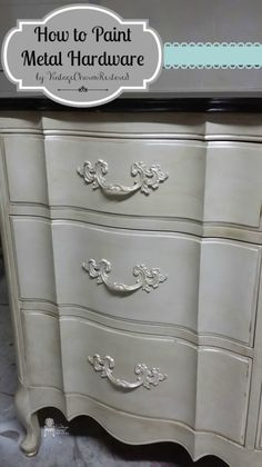 Changing the look of a dresser can be done with painting the hardware. I show you how to paint metal hardware for a long lasting finish here.