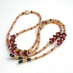 Red Czech Glass Flowers Beaded eyeglass chain - Handmade ID Badge Lanyards, Badge Reels, Eyeglass Chains | Plum Beadacious